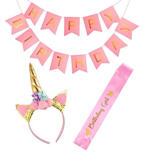 FEPITO Einhorn Stirnband Geburtstags Mädchen Schärpe und Alles Gute zum Geburtstag Ammer Banner (Rosa) (Partei Girls Begünstigt)