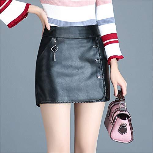 Swallowuk Cullotes Damen Elegant Faux Leder Mini Hosen Röcke Kurze Hose Hohe Taille Slim Fit Partyrock Mode Minirock (XL, Schwarz) -
