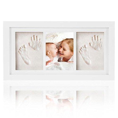 Joyeee Baby Bilderrahmen Abdruckset Handabdruck und Fußabdruck | Hand und Fuß Gipsabdruck Set, für Neugeborene, Baby Dusche oder Taufe Geschenk, Personalisiertes Geschenk #3 (Erinnerung Baby-dusche)