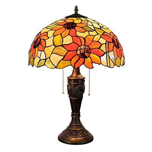 Tiffany Stil Tischlampe Europäischen Retro Sun Flower Schreibtischlampe Kreative Schreibtisch Augenschutz Reißverschlussschalter Leselampe for Schlafzimmer Nacht Bar Büro