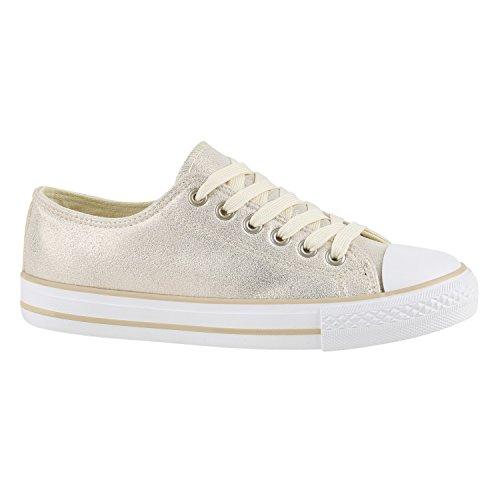Damen Sneakers Mehrfarbig | Metallic Turnschuhe | Sneaker Low | Freizeit Flats Glitzer Creme Gold Glatt