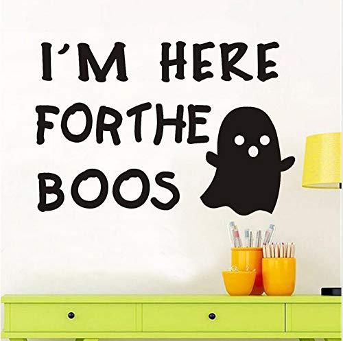 Hwhz 40 X 59 Cm Ich Bin Hier Für So So Niedlich Geister Wandaufkleber Für Kinderzimmer Halloween Dekoration Diy Wandtattoos Dekoration Zubehör (Niedliche Halloween Dekoration Diy)