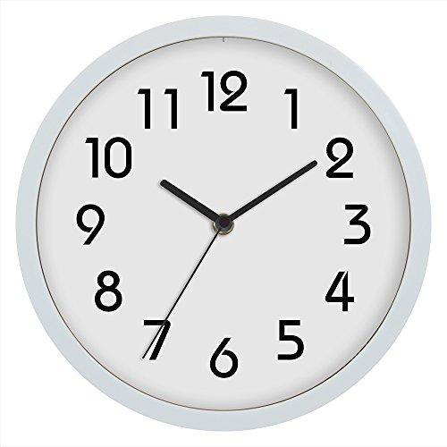 Jinberry 10' (25cm) Clásico Reloj de Pared Silenciosos Minimalista / Reloj Redondo Quartz Sin Tic Tac para Dormitorio , Salon , Oficina y Cocina - Blanco