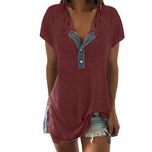 VJGOAL Damen T-Shirt, Damen Mode Kurzarm Lose Beiläufige Knopf Bluse Mädchen Sommer Tank Tops (3XL/50, A-Weinrot) (Rock, Top, Strumpfhose)