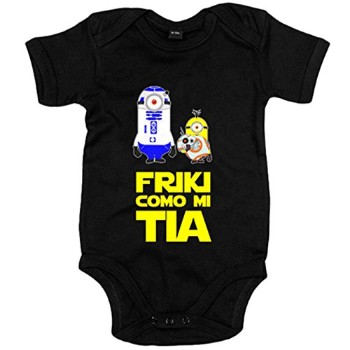 Body bebé Star Wars friki como mi tia RD2D BB8 droide bola - Negro, 6