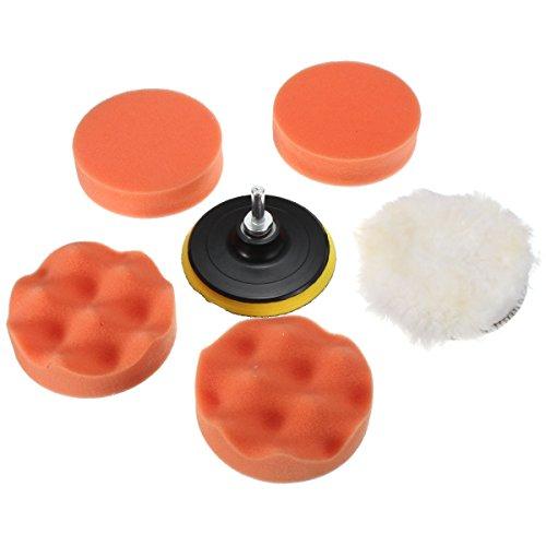MATCC 6pcs 4 Inchs Polierschwamm Polierset aus Schwamm und Wolle Polierpad Set für Poliermaschine Auto polieren Polieren Apparaturen M10 Bohrer Adapter Lackpflege