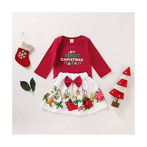BBSMLIN Disfraces Navidad Niñas Letra de Estampado Mameluco + Dibujos Animados Falda Ropa de Conjunto 2