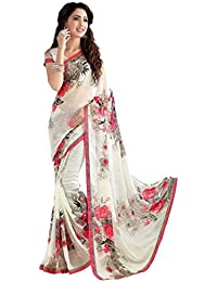 Marbie Fashion Women's Georgette Printed Saree With Blouse Peice Material