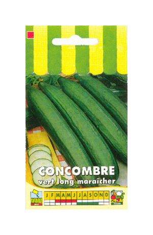 Graines de Concombre Vert Long maraîcher - Graines Potagères à semer - Sachet de 3 grammes