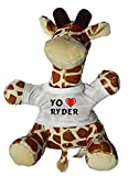 Shopzeus Jirafa de Peluche (Juguete) con Amo Ryder en la Camiseta (Nombre de Pila/Apellido/Apodo)
