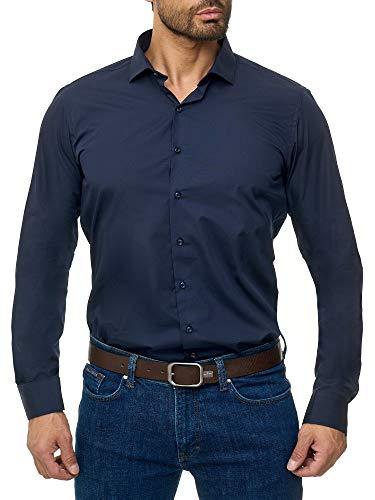 BARBONS Herren-Hemd BÜGELLEICHT - Tailord-Fit - Langarm-Hemd für Business Freizeit Büro - A - Navy 3XL (47-48)