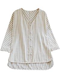 29c8559803457e Moonface Women Striped Button V-Neck Loose Linen Large Size T-Shirt Blouse  Top