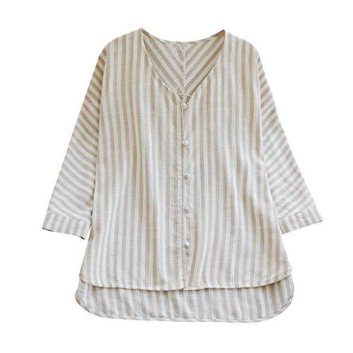 Andouy Shirt Tops Frauen Streifen Leinen Knopf Tunika Plus Size Gr.38-52 Damen Lose Slouch Bluse Übergroß(2XL(46),Beige)