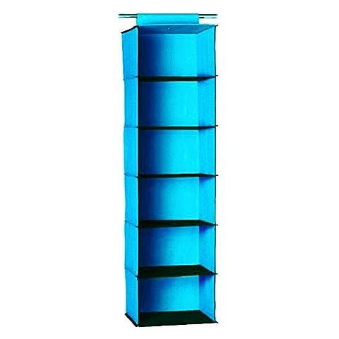 CrazyGadget® Blue Garment Hanger 6 Sections Wardrobe Rail Hanging Shelves