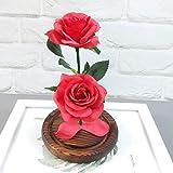 Jamicy LED Dekoration für Weihnachten, künstliche Blumen, romantische Glas Rose Hochzeitsdekoration Heimtextilien DIY Haus Garten Dekor (Rot) - 2