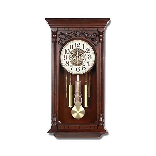 Orologio a pendolo antico, orologi da parete silenziosi Orologi a pendolo retrò vintage classici con orologio da parete al quarzo con cassa meccanica di Westminster Meccanismo non ticchettio (68cm)