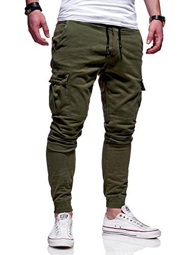 MT Styles Herren Cargo Chinohose Jogger Hose JN-3839 [Khaki, W36] (Herren-hosen Khaki)