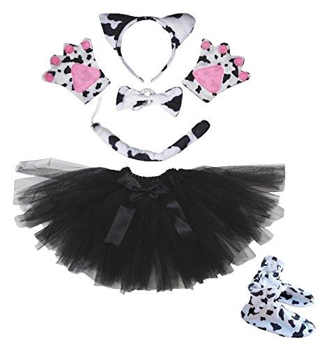 Milch Kuh Stirnband Schleife Schwanz Handschuh Schuhe Rot Tutu 6Cowgirl Kostüm für Party