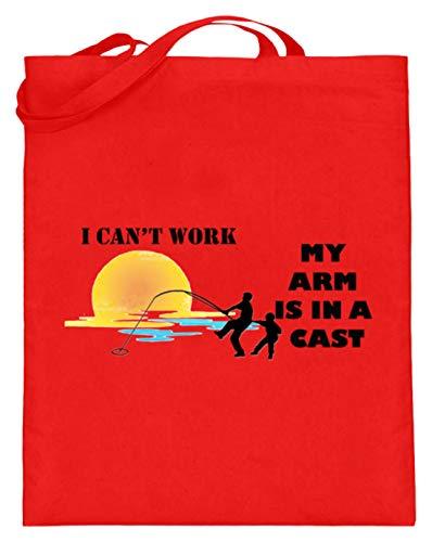 Hochwertiger Jutebeutel (mit langen Henkeln) - Ich Kannnicht Arbeiten, Meine Arme Sind Beschäftigt - Schlichtes Und Witziges Design
