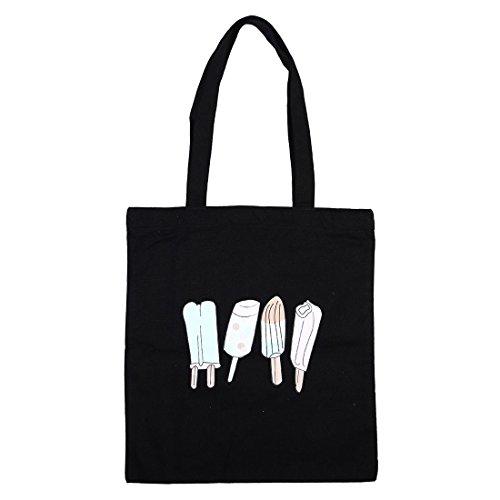 ame zwei Schultergurt Tasche wiederverwendbare Tote Handpackung Einkaufstasche Schwarz (Halloween-snacks Für Die Schule)