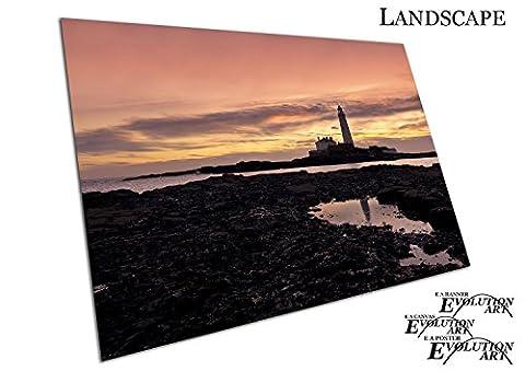Küche & Badezimmer Banner-ST MARY Leuchtturm North East England - A4 Print Only