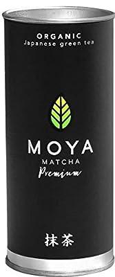 Moya Matcha Premium 30g - thé Vert en Poudre du Japon - 100% Agriculture Bio Certifié - Récolté dans la Région Uji - Qualité de Cérémonie (I)- à Utiliser avec de l'eau Uniquement