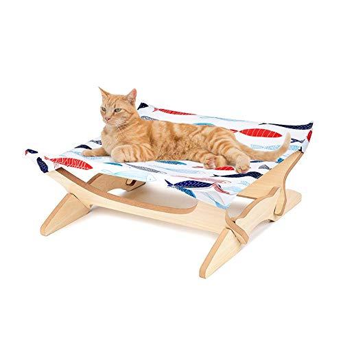 G-wukeer Amaca per Gatti, Lettino per Gatti Staccabile in Legno Imitazione Quadrato, Divano Amaca Gatto Giapponese