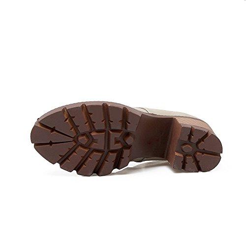 AgooLar Femme à Talon Haut Couleur Unie Tire Matière Souple Rond Chaussures Légeres Gris
