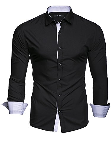 4160a476a2f69 Kayhan Homme Chemise Slim Fit Repassage Facile Coton, Manches ...
