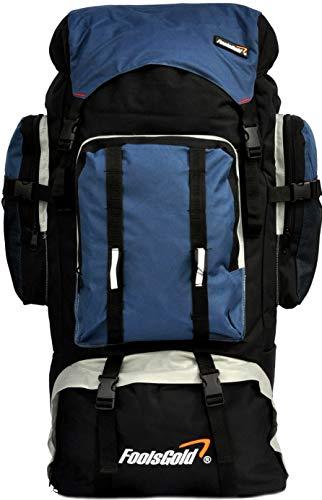 foolsGold - Mochila de senderismo con doble acceso, disponible en 5 colores, color Navy Blu, tamaño XL