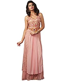 Shoppingover Women's Georgette Dress Material (1102BN_Free Size_Pink)