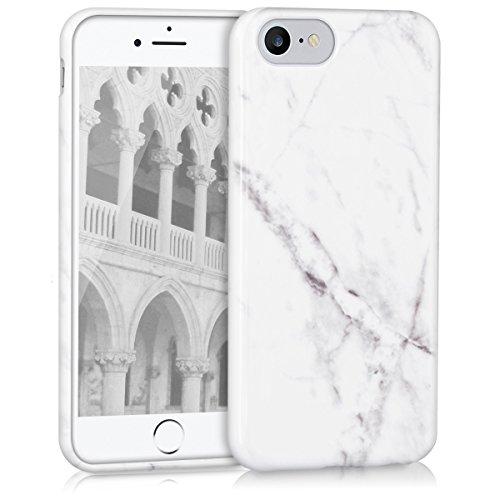 kwmobile Hülle für Apple iPhone 7 / 8 - TPU Silikon Backcover Case Handy Schutzhülle - Cover Rot matt Marmor Weiß Schwarz