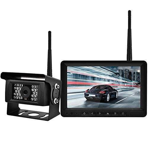 Rückfahrkamera Monitor Kit, 7 Zoll LCD HD Wireless Rückfahrkamera mit Nachtsicht für LKW, Wohnmobile, Anhänger, Bus, Harvester, Pickup Lcd-pole Kit