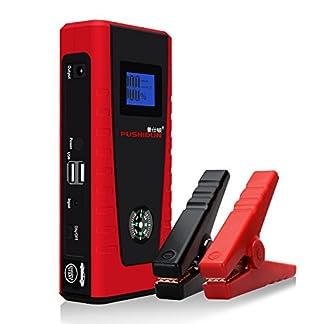 Arrancadores De Coche 12000mAh 600A Emergencia Bateria Kit Arranque para 12V 4.0L Gasolina & 2.0L Diesel Con Pinzas Inteligentes, Pantalla LCD, LED, USB Puertos para Emergencia Smartphones