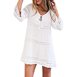 Kingko® Frauen Sommer dreiViertel schöne und elegante Farbe Strand Kurzschluss Minikleid (L)