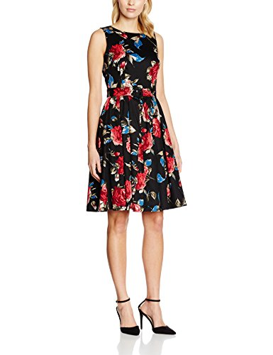 Dolly-and-Dotty-Annie-Vestido-Casual-para-Mujer-Schwarz-Black-Red-Roses-Print-Bfl-38