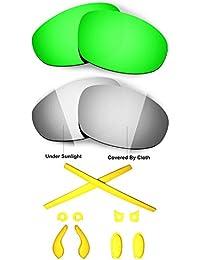 HKUCO Black/Transition Photochromic Polarized Replacement Lenses and Blue Earsocks Rubber Kit For Oakley Juliet Sunglasses y6LZo47K
