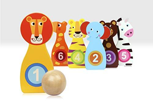 Beehive Toys Skittles de Madera para Animales, Juego de Bolos numerados para niños pequeños