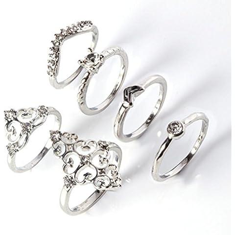 Aleación de retro Knuckle verde anillos (6) engastada con diamantes , 2