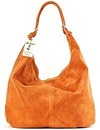 SAC-DESTOCK - Mujer Bolso de Mano de Cuero - Correa de mano y el hombro - Cuero gamuza - Ref : IBIZA
