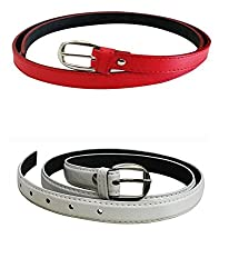 Glamio Girl's PU Leather Belts Set of 2 Combo (Red & White)(GLA/WOMENBELTS/REDWH)