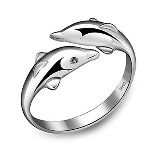 dynry (TM) New Fashion silver-plateddouble Dolphin Ring Öffnung verstellbar, versilberte Ringe für Mädchen Charm Schmuck Valentinstag Geschenk