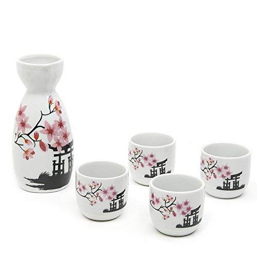 Ankoow Japanische Sake-Becher-Set, handbemalt, Kirschblüten, Blumen-Design, Porzellan, traditionelle Keramiktassen, Basteln, Weingläser, 5-teilig Sake-becher-set