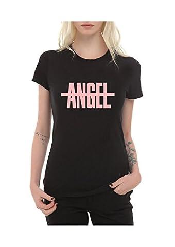 Frauen T-Shirt mit Aufdruck in Schwarz XL Angel Engel Frech