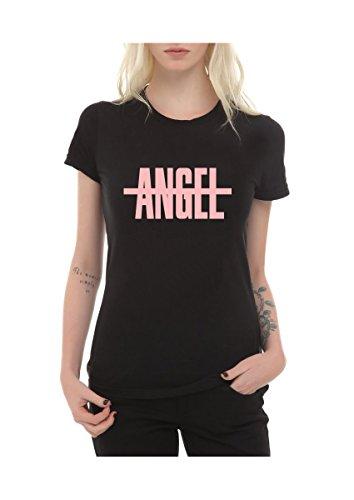 Frauen T-Shirt mit Aufdruck in Schwarz L Angel Engel Treu Design Girl Top Mädchen Shirt Damen Basic 100{1b40f5d10935a9c47ba9a2022548358cfefaea69e6071e381aa746138e33f8e9} Baumwolle kurzarm (L, Angel)