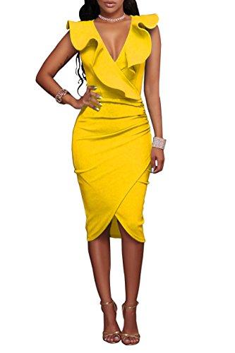 YMING Damen Party Kleid Sexy Tief V Ausschnitt Figurbetontes Kleid Stretchkleid Übergröße,Gelb,XXL / DE - Gelb Damen Kleider