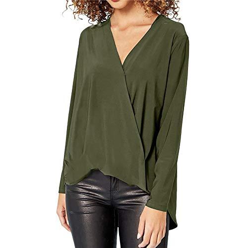 Mode Damen Chiffon Solid T-Shirt Büro Damen V-Ausschnitt Langarm Bluse Top MYMYG Frau Pullover Langarmshirt Sweatshirt (Armeegrün,EU:42/CN-2XL)