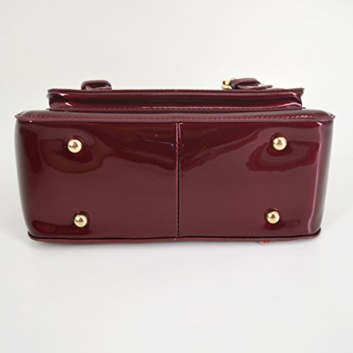 d2cff4060ef58 ... Milya Klassische Elegante Mode Neue Lackleder Handtasche Schultertasche  Umhängetasche mit Reissverschluss und Magnetverschluss für Damen Mädchen