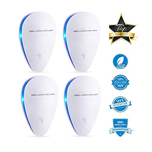 Ultrasonic Pest Repeller Plug In Electronic Pest Control Drive Away Moths, Mice, Mosquito, Insects, Rats, Flies, Crickets, Spiders And More, Human Pet Safe Non Toxic Repellent - (4 Pack, White - UPR1)