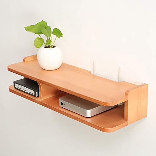 NBgy Wandregal, Creative TV-Set-Top-Box-Rahmen Schlafzimmer Wandbehang Massivholz Road Shelf Veranda Dekorrahmen, 2 Farben, 59,5x20x10,5 cm (Color : Wood Color) -